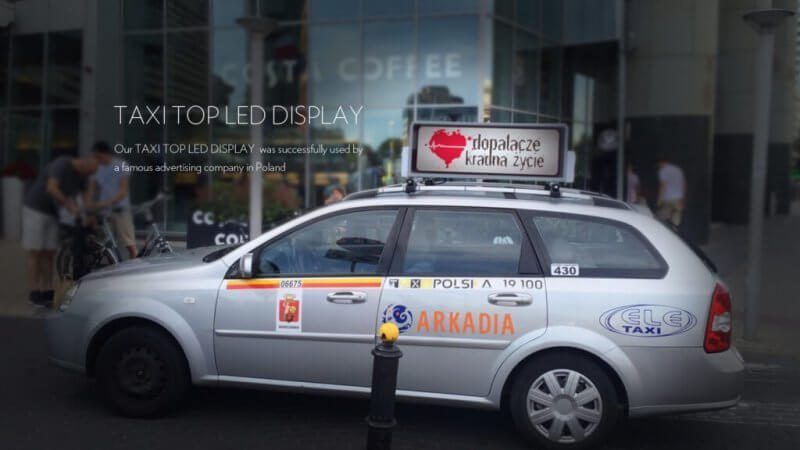 taxi top led display case in poland