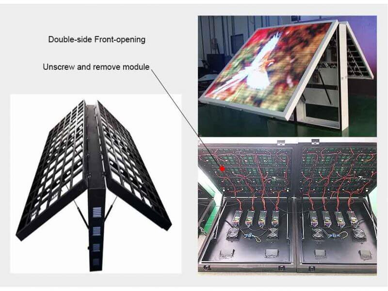 double side front opening led display